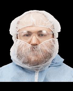 FrogWear™ White Polypropylene Disposable Beard Covers - NW-PPBR18-W