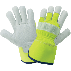 High-Visibility Canvas Back With Goatskin Leather Palm Gloves - 1100GHV