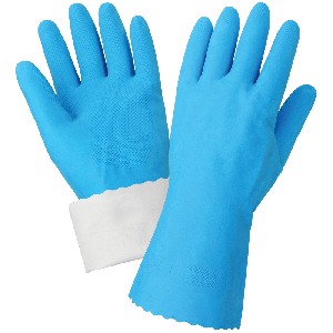 FrogWear® Blue Flock-Lined 18-Mil Rubber Latex Unsupported Gloves with Diamond Pattern Grip - 140FB
