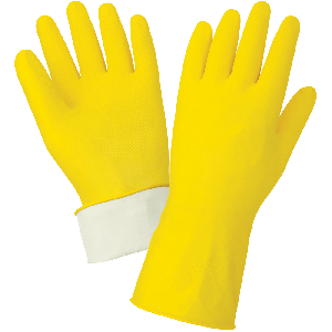FrogWear® Premium 18-Mil Flock-Lined Yellow Latex Unsupported Gloves with Diamond Pattern Grip - 150F