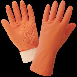 FrogWear® Orange 18-Mil Flock-Lined Latex Diamond Pattern Grip Unsupported Gloves - 180F