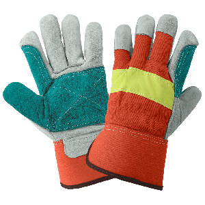 Economy High-Visibility Split Cowhide Leather Double Palm Gloves - 2300HVDP