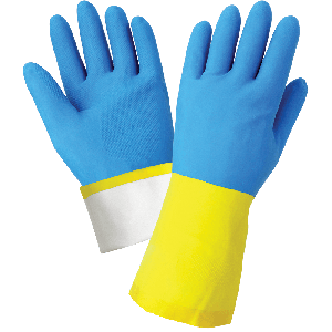 Flock-Lined 26-Mil Yellow Rubber Latex Unsupported Gloves with a Blue Neoprene Coating and Raised Diamond Pattern Grip - 244