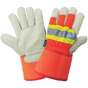 High-Visibility Standard-Grade Cowhide Leather Insulated Gloves with Safety Cuff - 2950HV