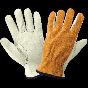 Premium-Grade Grain Cowhide Leather Palm Split Back Drivers Gloves - 3200BS
