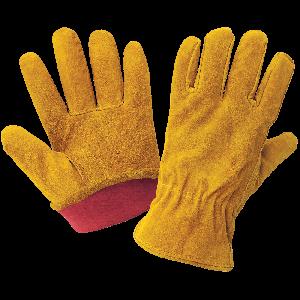 Russet Color Standard-Grade Cowhide Split Leather Fleece-Lined Drivers Gloves - 3200SRF