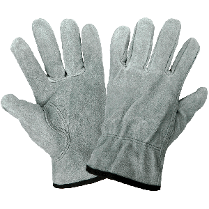 Standard-Grade Gray Split Cowhide Leather Drivers Style Gloves - 3200S