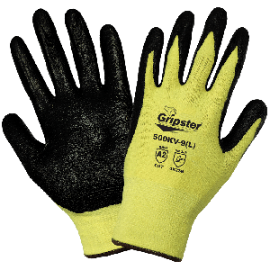 Gripster® Yellow Aramid Fiber Nitrile Coated Palm Cut Resistant Gloves - 500KV