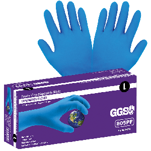 Heavyweight Nitrile, Powder-Free, Examination-Grade, Blue, 8-Mil, Textured Fingertips, 11-Inch Disposable Gloves - 805PF