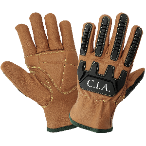 Impact, Oil and Water Resistant Double Palmed Goatskin Leather Gloves - CIA3600