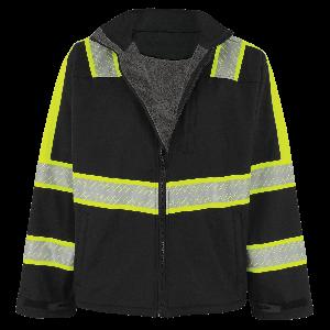 FrogWear® HV - Premium Enhanced Visibility Black Sherpa-Lined Softshell Jacket - EV-SJ1