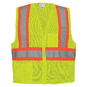 FrogWear® HV Yellow/Green Lightweight Mesh Polyester Vest with Contrasting Trim - GLO-002