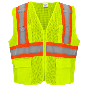 FrogWear® HV High-Visibility Yellow/Green Lightweight Mesh Surveyors Vest - GLO-0035