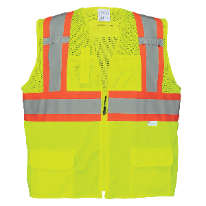 FrogWear® HV Solid and Mesh Polyester High-Visibiliy Yellow/Green Surveyors Safety Vest - GLO-0037