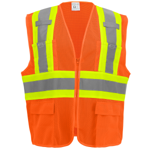 FrogWear® HV High-Visibility Orange Lightweight Mesh Surveyors Vest with Contrasting Trim - GLO-0045
