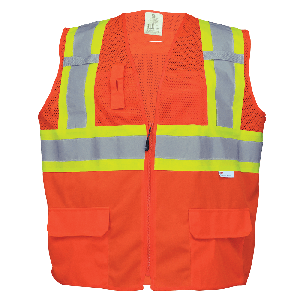 FrogWear® HV Solid and Mesh Polyester High-Visibility Orange Surveyors Safety Vest - GLO-0047