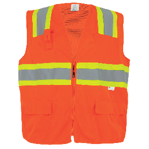 FrogWear® HV High-Visibility Orange Mesh/Solid Surveyors Safety Vest - GLO-004