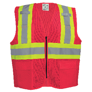 FrogWear® HV Lightweight High-Visibility Red Mesh Surveyor Vest - GLO-0055