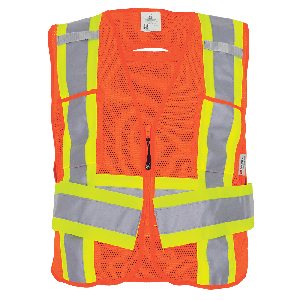 FrogWear® HV High-Visibility Orange Lightweight Mesh Polyester Adjustable Vest - GLO-005ADJ