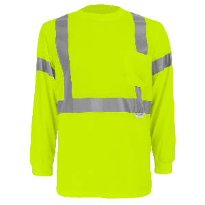 FrogWear® HV Self-Wicking High-Visibility Yellow/Green Long-Sleeved Shirt with Reflective - GLO-008LS