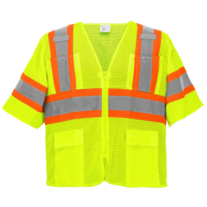 FrogWear® HV Yellow/Green Mesh Polyester Surveyors Safety Vest with Sleeves - GLO-0135
