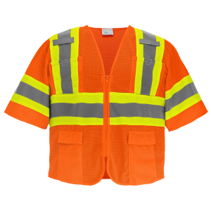 FrogWear® HV Orange Mesh Polyester Surveyors Safety Vest with Sleeves - GLO-0145