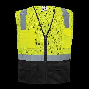 FrogWear® HV High-Visibility Polyester Solid Black Bottom Safety Vest - GLO-019