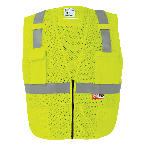 FrogWear® HV Flame-Resistant High-Visibility Yellow/Green Surveyors Vest - GLO-022FR