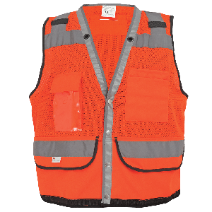 FrogWear® HV Lightweight High-Visibility Orange Mesh Surveyors Safety Vest - GLO-058