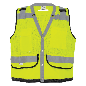 FrogWear® HV Lightweight High-Visibility Yellow/Green Mesh Surveyors Safety Vest - GLO-059