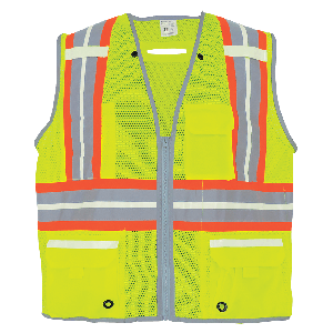 FrogWear® HV Photoluminescent Surveyors Safety Vest with Reflective - GLO-077