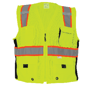 FrogWear® HV Mesh Polyester Surveyors Safety Vest - GLO-079