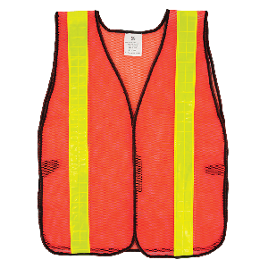 FrogWear® HV High-Visibility Orange Economy Mesh Safety Vest with Wide Yellow Reflective - GLO-10-2IN