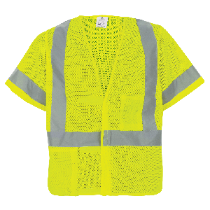 FrogWear® HV High-Visibility Mesh Polyester Short-Sleeved Safety Vest with Hook-and-Loop Closure - GLO-11V