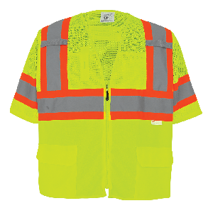 FrogWear® HV Mesh/Solid Polyester High-Visibility Yellow/Green Surveyors Safety Vest - GLO-127