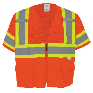 FrogWear® HV Mesh/Solid Polyester High-Visibility Orange Surveyors Safety Vest - GLO-147