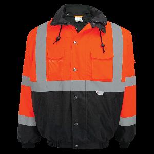 FrogWear® HV High-Visibility Orange Winter Bomber Jacket - GLO-EB4