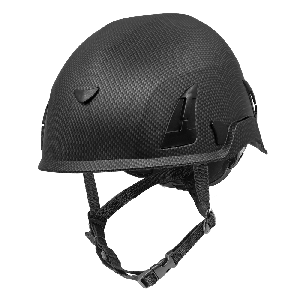 Bullhead Safety™ Head Protection - Matte Black Graphite Climbing Style Protective Helmet with Six-Point Ratchet Suspension and Four-Point Chin Strap - HH-CH1-CB