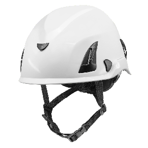Bullhead Safety™ Head Protection - White Climbing Style Protective Helmet with Six-Point Ratchet Suspension and Four-Point Chin Strap - HH-CH1-W