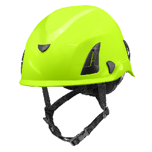 Bullhead Safety™ Head Protection - High-Visibility Yellow/Green Climbing Style Protective Helmet with Six-Point Ratchet Suspension and Four-Point Chin Strap - HH-CH1-YG