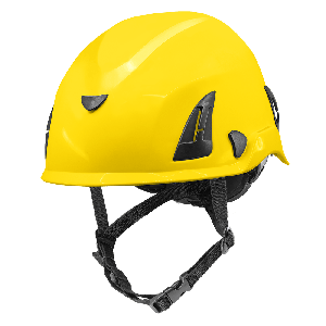 Bullhead Safety™ Head Protection - Yellow Climbing Style Protective Helmet with Six-Point Ratchet Suspension and Four-Point Chin Strap - HH-CH1-Y