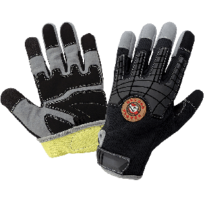 Hot Rod Gloves® Premium Synthetic Leather Palm Performance Mechanics Style Gloves with a Cut Resistant Liner, Impact Protection, and a Mesh Back - HR8200KEV