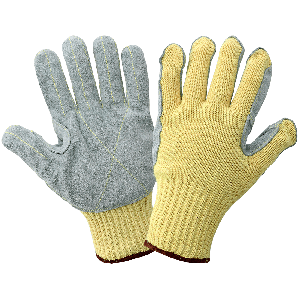 String Knit Cut Resistant Leather Palm Gloves - K300LFE