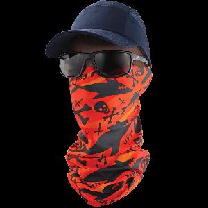 FrogWear™ Multi-Function Neck Gaiter, Orange and Black Shark and Cross Bones Design - NG-203
