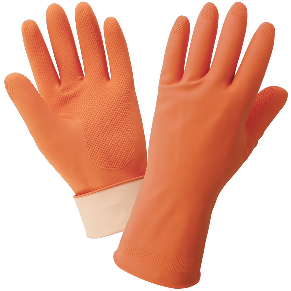 FrogWear® Orange 18-Mil Flock-Lined Latex Diamond Pattern Grip Unsupported Gloves - 180F