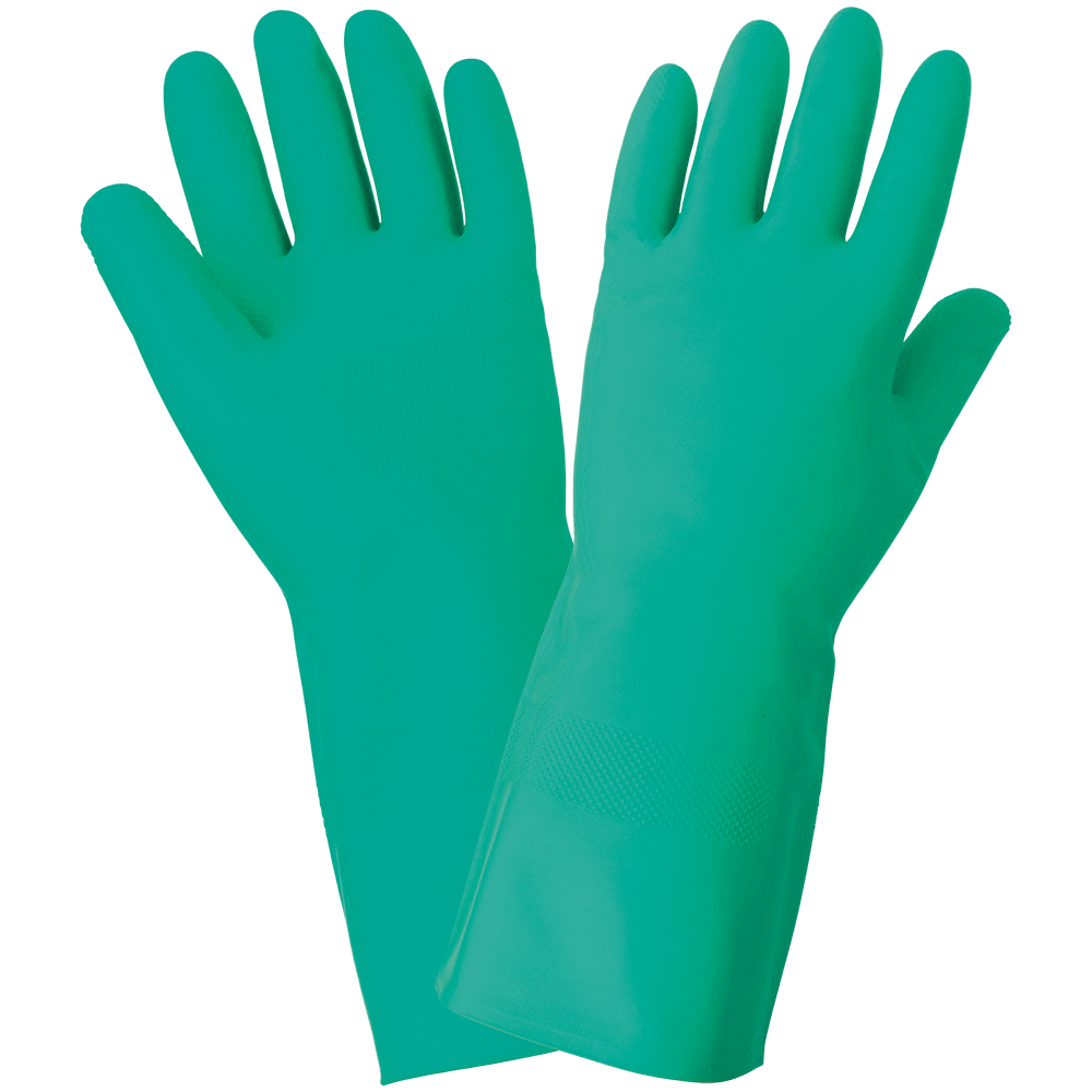 Unlined 12-Mil Green Nitrile Raised Diamond Pattern Grip Unsupported Gloves - 515