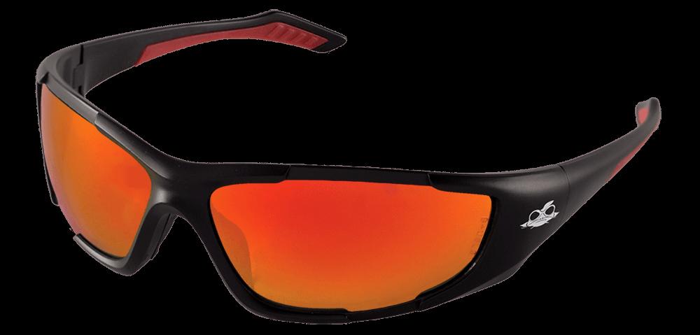 BH12610 - Javelin™ Red Mirror Lens, Matte Black Frame Safety Glasses