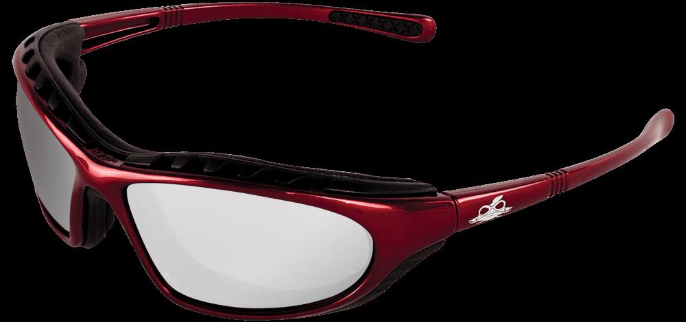 Steelhead® Silver Mirror Anti-Fog Lens, Shiny Red Frame Safety Glasses - BH13147AF
