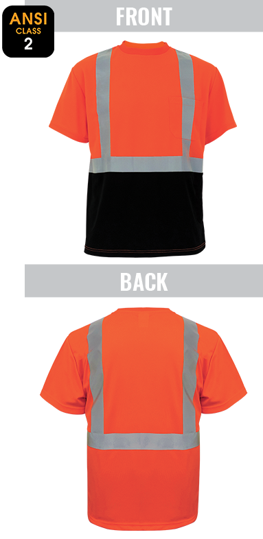 GLO-005B - FrogWear® HV - High-Visibility Self Wicking Polyester Short Sleeved Shirt
