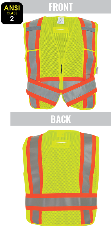 GLO-002ADJ - FrogWear® HV - High-Visibility Mesh Polyester Adjustable Safety Vest